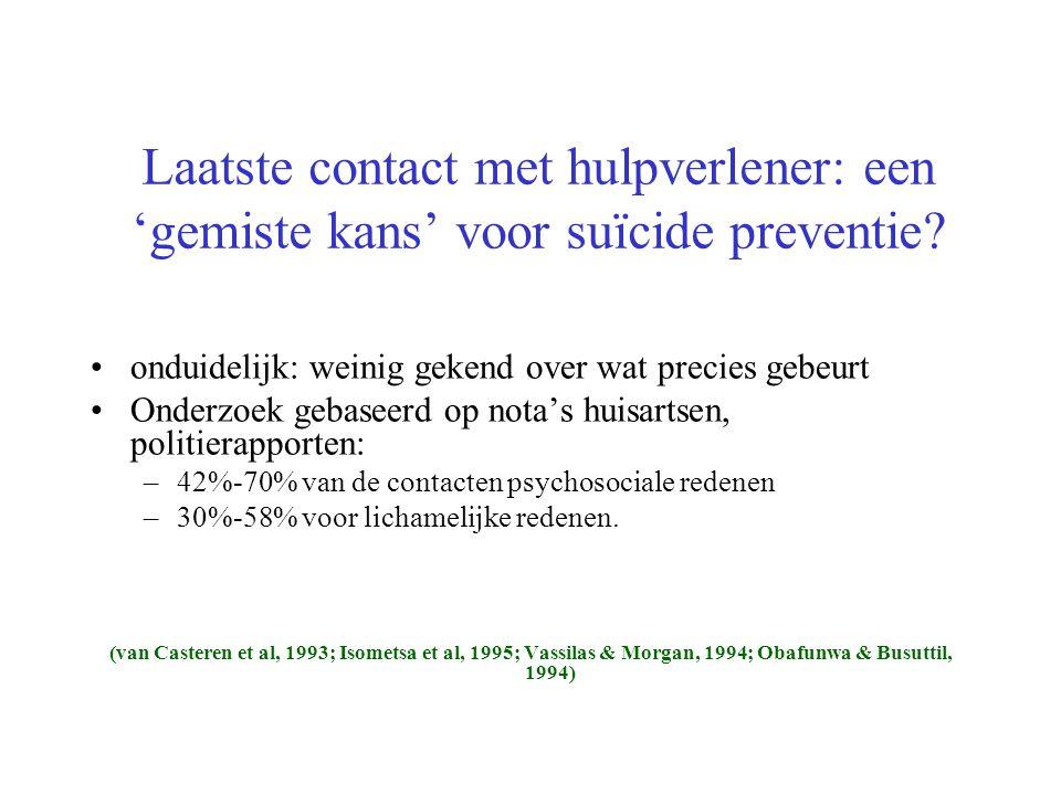 Laatste contact met hulpverlener: een 'gemiste kans' voor suïcide preventie