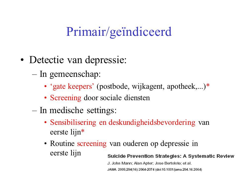 Primair/geïndiceerd Detectie van depressie: In gemeenschap: