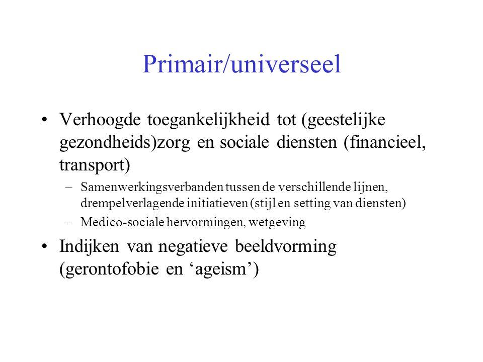 Primair/universeel Verhoogde toegankelijkheid tot (geestelijke gezondheids)zorg en sociale diensten (financieel, transport)