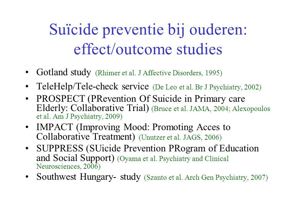 Suïcide preventie bij ouderen: effect/outcome studies