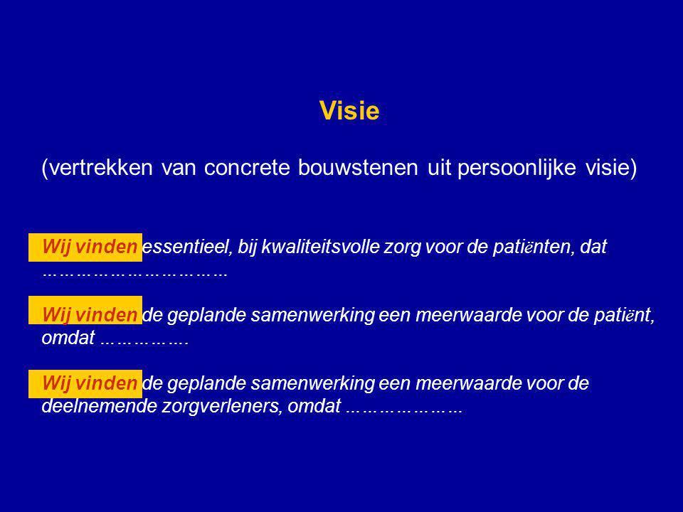 Visie (vertrekken van concrete bouwstenen uit persoonlijke visie)