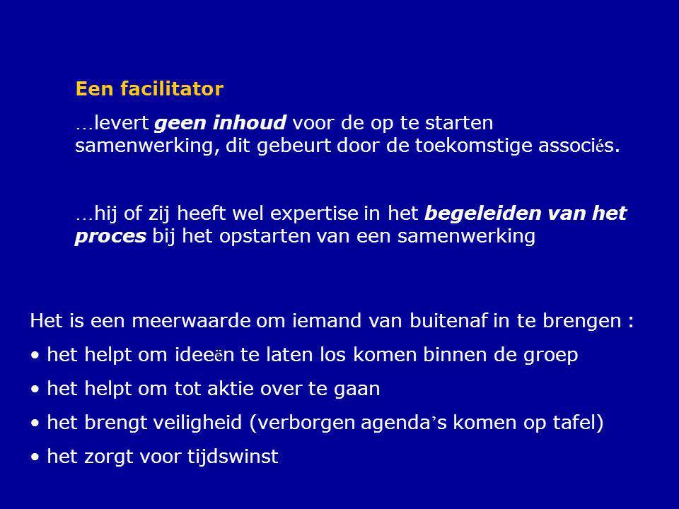 Een facilitator …levert geen inhoud voor de op te starten samenwerking, dit gebeurt door de toekomstige associés.