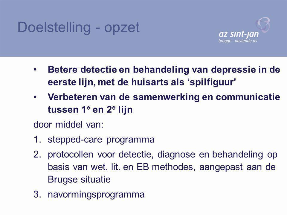 Doelstelling - opzet Betere detectie en behandeling van depressie in de eerste lijn, met de huisarts als 'spilfiguur