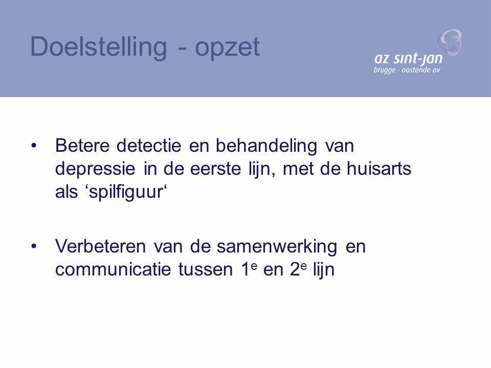 Doelstelling - opzet Betere detectie en behandeling van depressie in de eerste lijn, met de huisarts als 'spilfiguur'
