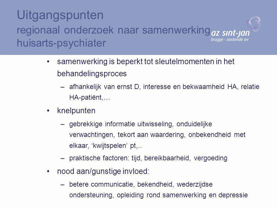 Uitgangspunten regionaal onderzoek naar samenwerking huisarts-psychiater