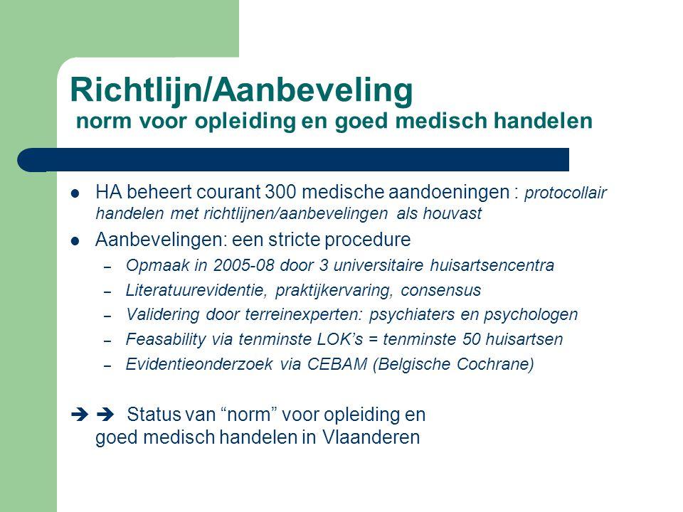 Richtlijn/Aanbeveling norm voor opleiding en goed medisch handelen