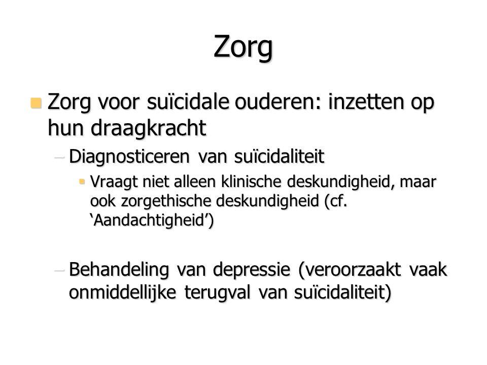 Zorg Zorg voor suïcidale ouderen: inzetten op hun draagkracht