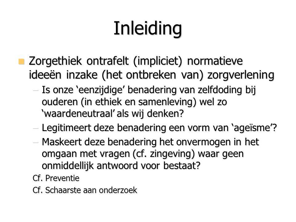 Inleiding Zorgethiek ontrafelt (impliciet) normatieve ideeën inzake (het ontbreken van) zorgverlening.