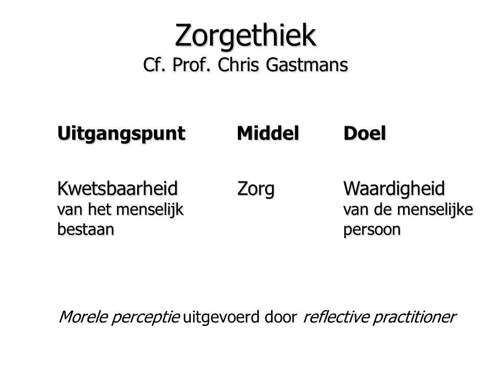 Zorgethiek Cf. Prof. Chris Gastmans