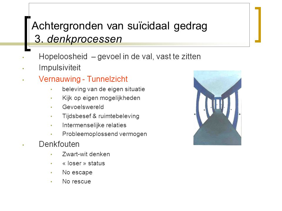 Achtergronden van suïcidaal gedrag 3. denkprocessen