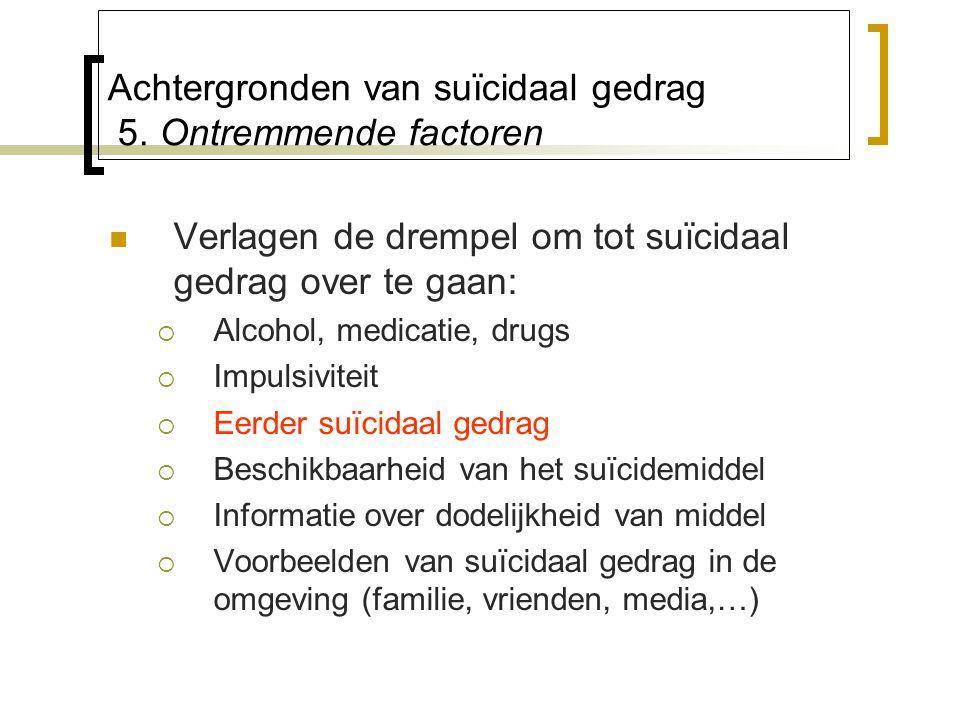 Achtergronden van suïcidaal gedrag 5. Ontremmende factoren