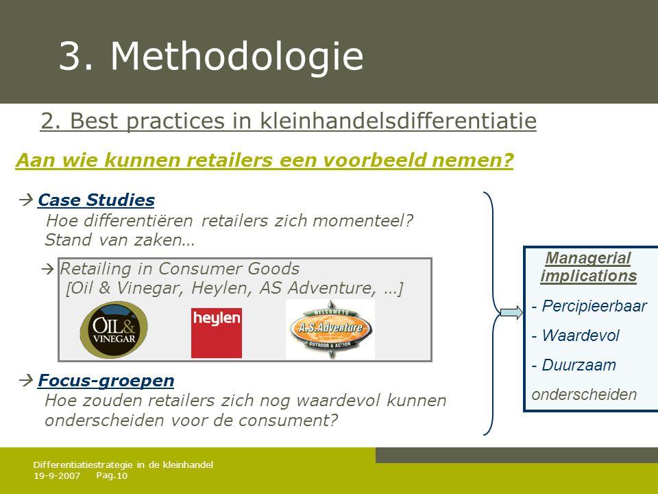 3. Methodologie 2. Best practices in kleinhandelsdifferentiatie