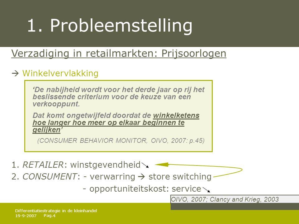 1. Probleemstelling Verzadiging in retailmarkten: Prijsoorlogen