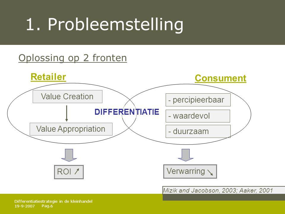 1. Probleemstelling Oplossing op 2 fronten Retailer Consument