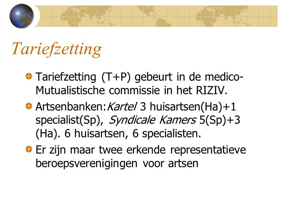 Tariefzetting Tariefzetting (T+P) gebeurt in de medico-Mutualistische commissie in het RIZIV.