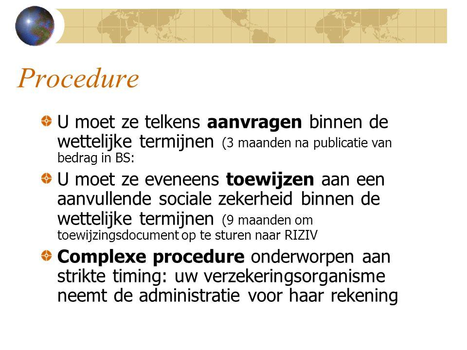 Procedure U moet ze telkens aanvragen binnen de wettelijke termijnen (3 maanden na publicatie van bedrag in BS: