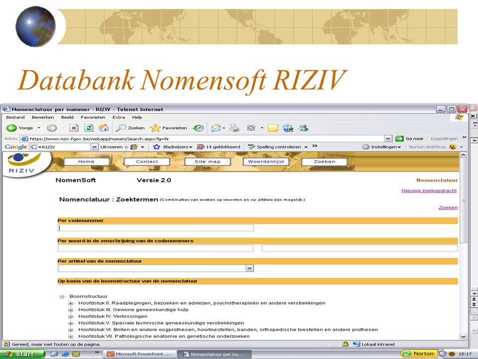 Databank Nomensoft RIZIV