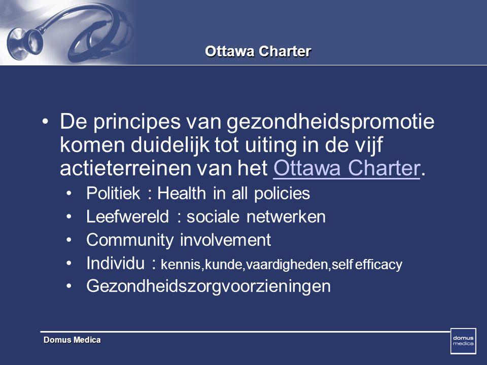 Ottawa Charter De principes van gezondheidspromotie komen duidelijk tot uiting in de vijf actieterreinen van het Ottawa Charter.