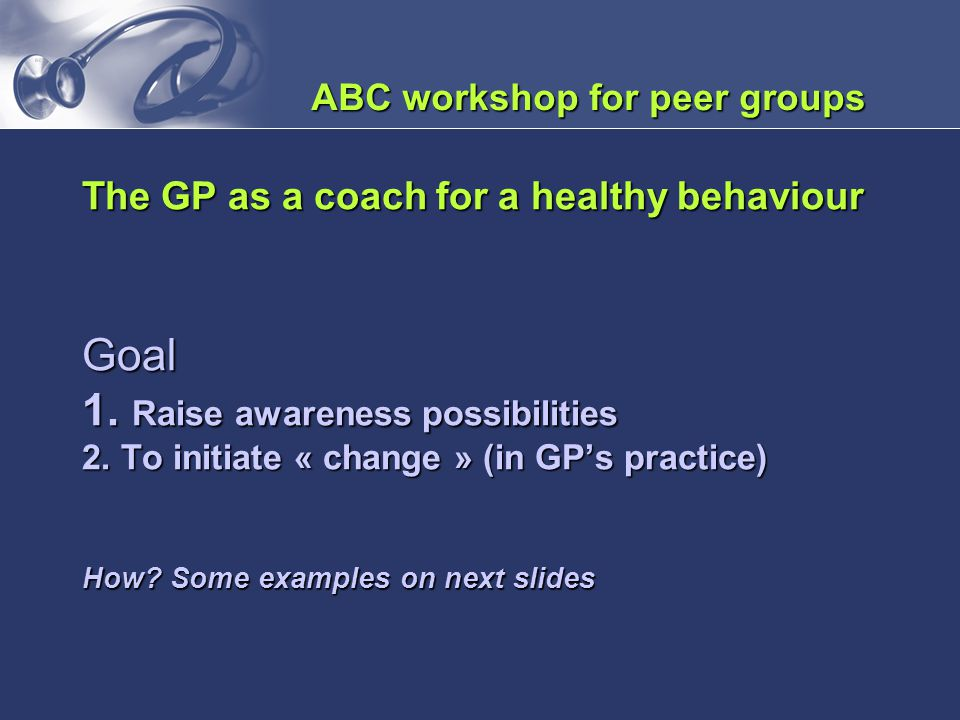 ABC workshop for peer groups