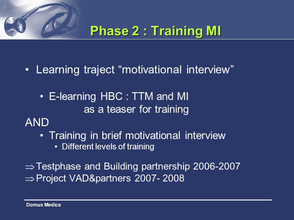 Phase 2 : Training MI Learning traject motivational interview AND