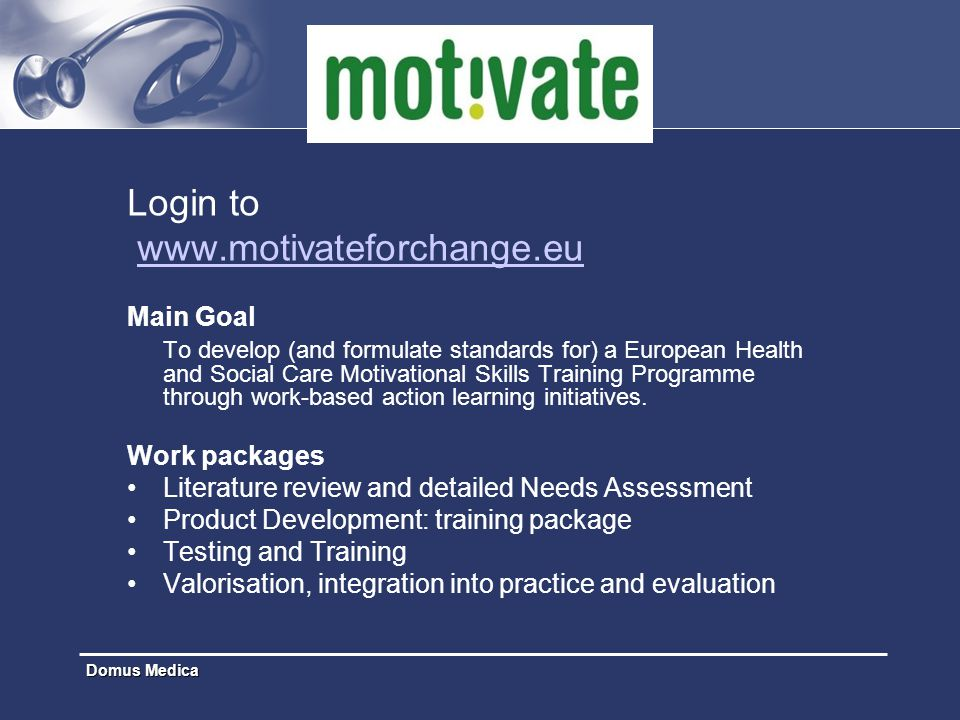 Login to www.motivateforchange.eu Main Goal