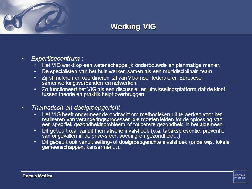 Werking VIG Expertisecentrum : Thematisch en doelgroepgericht