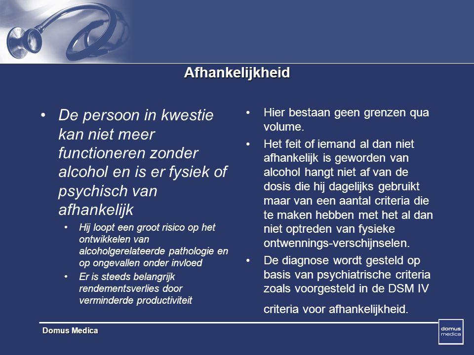 Afhankelijkheid De persoon in kwestie kan niet meer functioneren zonder alcohol en is er fysiek of psychisch van afhankelijk.