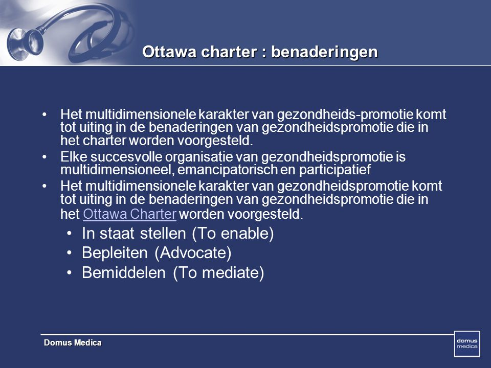 Ottawa charter : benaderingen