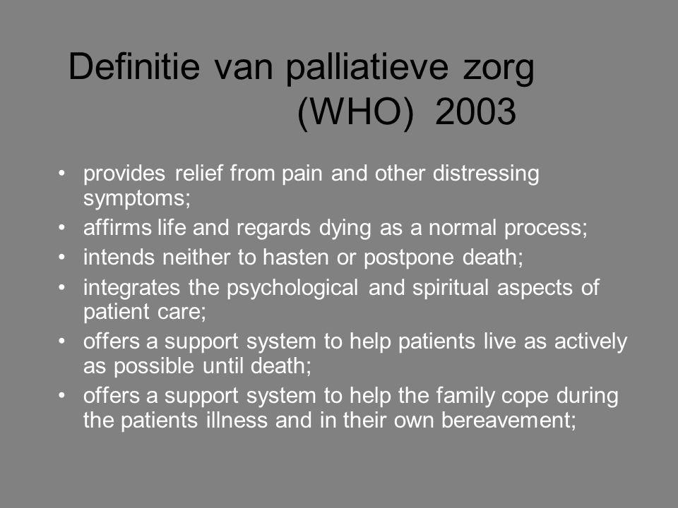 Definitie van palliatieve zorg (WHO) 2003