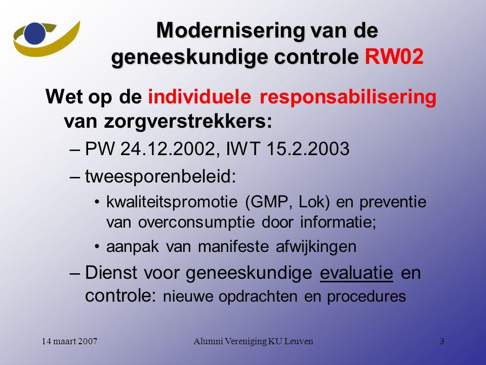 Modernisering van de geneeskundige controle RW02