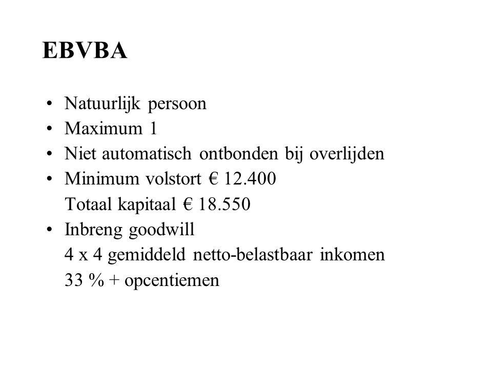 EBVBA Natuurlijk persoon Maximum 1