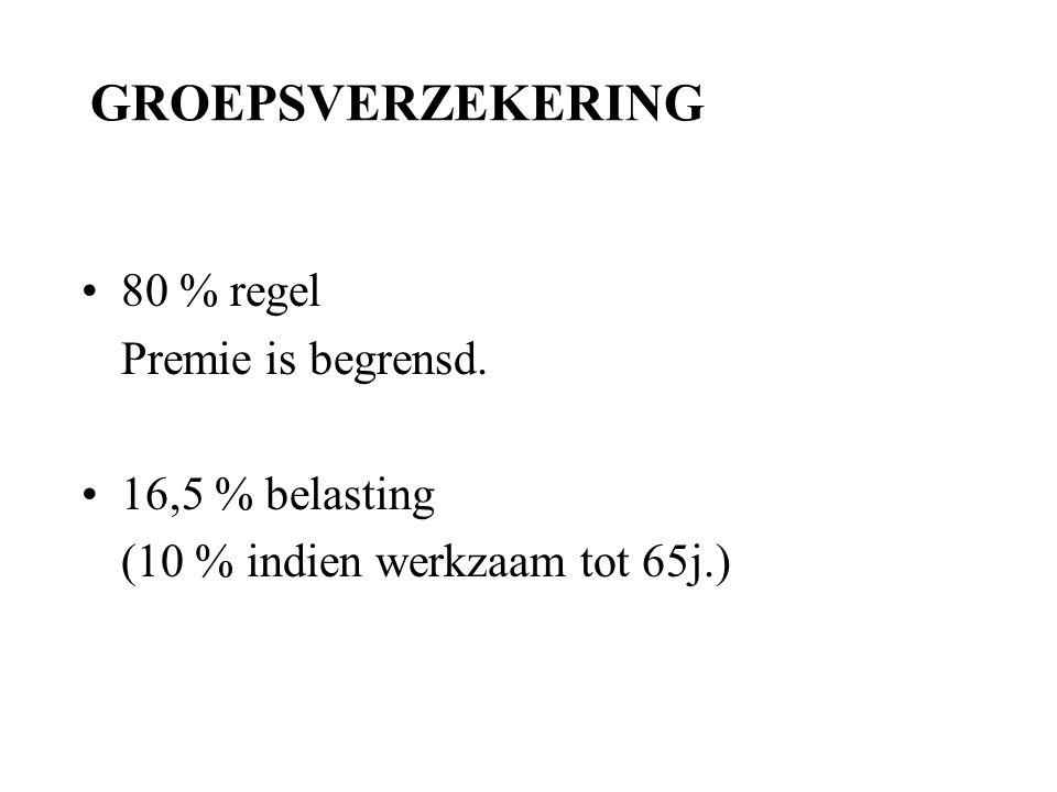 GROEPSVERZEKERING 80 % regel Premie is begrensd. 16,5 % belasting