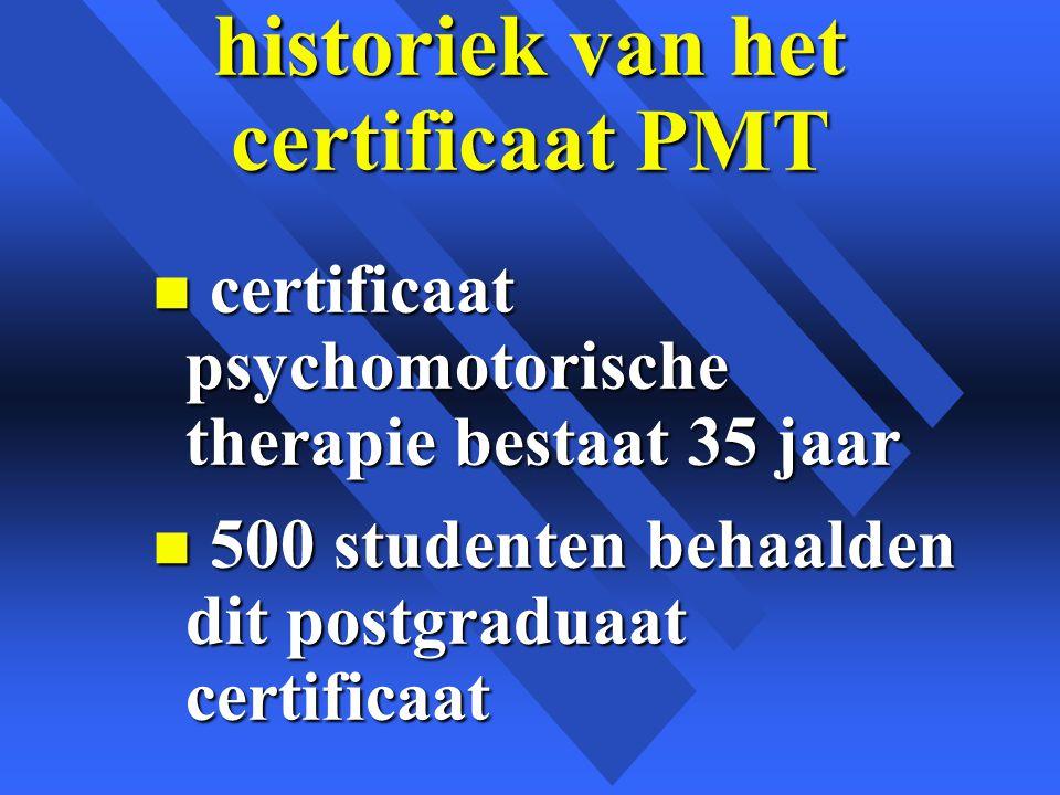 historiek van het certificaat PMT