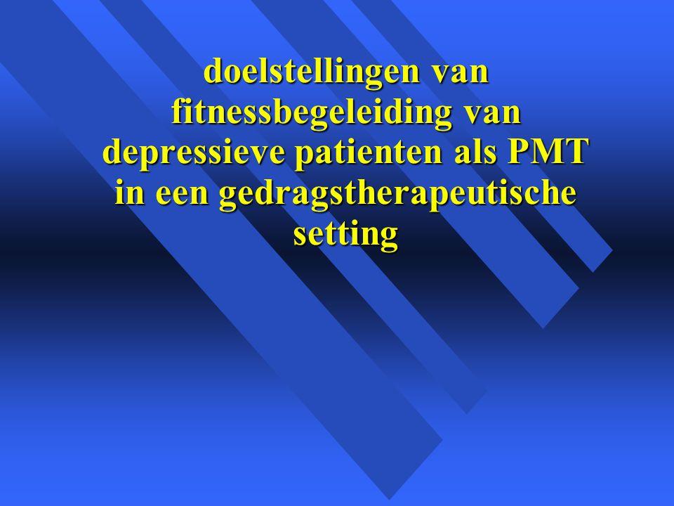 doelstellingen van fitnessbegeleiding van depressieve patienten als PMT in een gedragstherapeutische setting