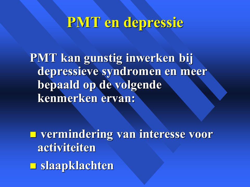 PMT en depressie PMT kan gunstig inwerken bij depressieve syndromen en meer bepaald op de volgende kenmerken ervan: