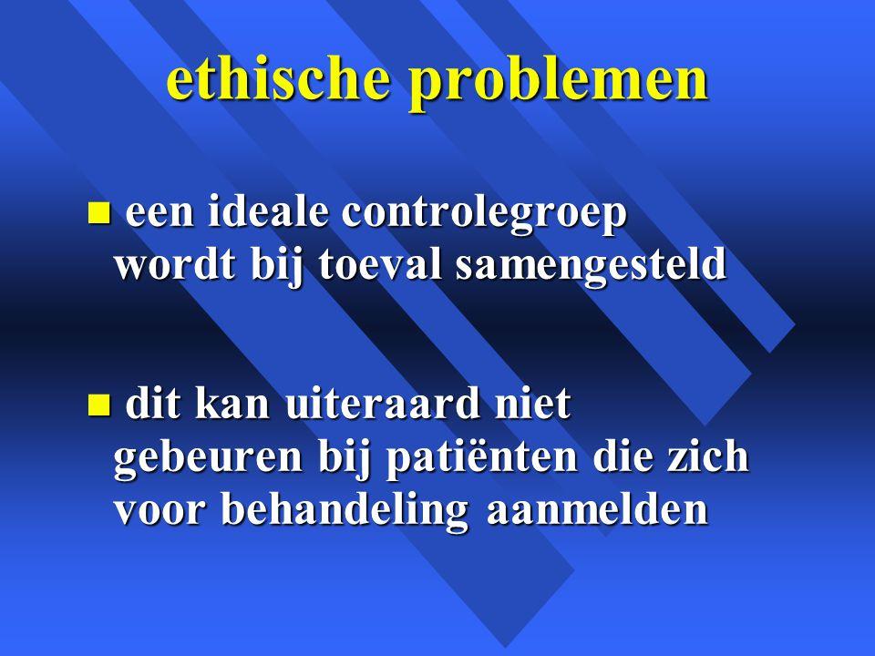 ethische problemen een ideale controlegroep wordt bij toeval samengesteld.