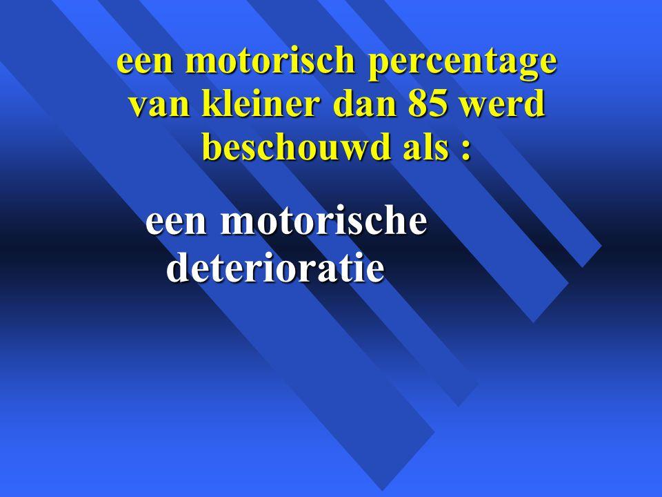 een motorisch percentage van kleiner dan 85 werd beschouwd als :