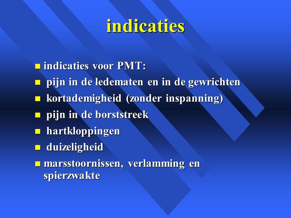 indicaties indicaties voor PMT: