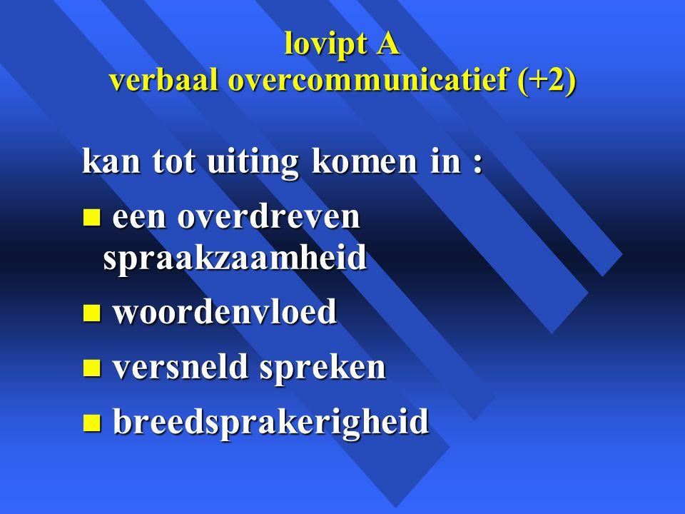 lovipt A verbaal overcommunicatief (+2)