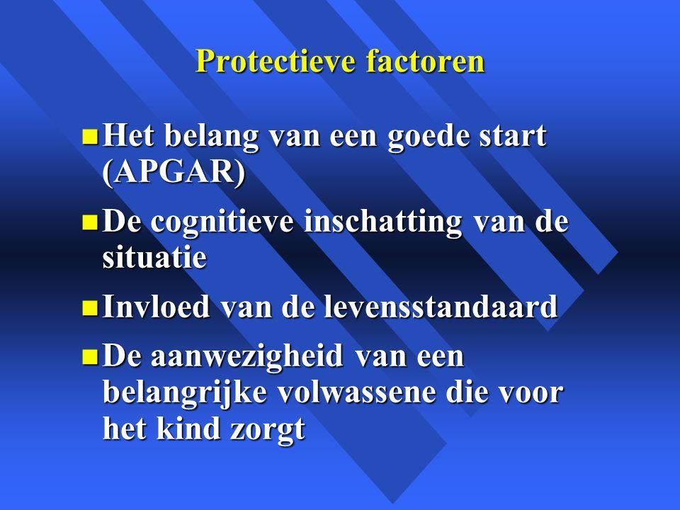 Protectieve factoren Het belang van een goede start (APGAR) De cognitieve inschatting van de situatie.