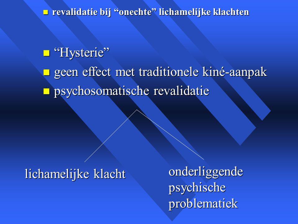 geen effect met traditionele kiné-aanpak psychosomatische revalidatie