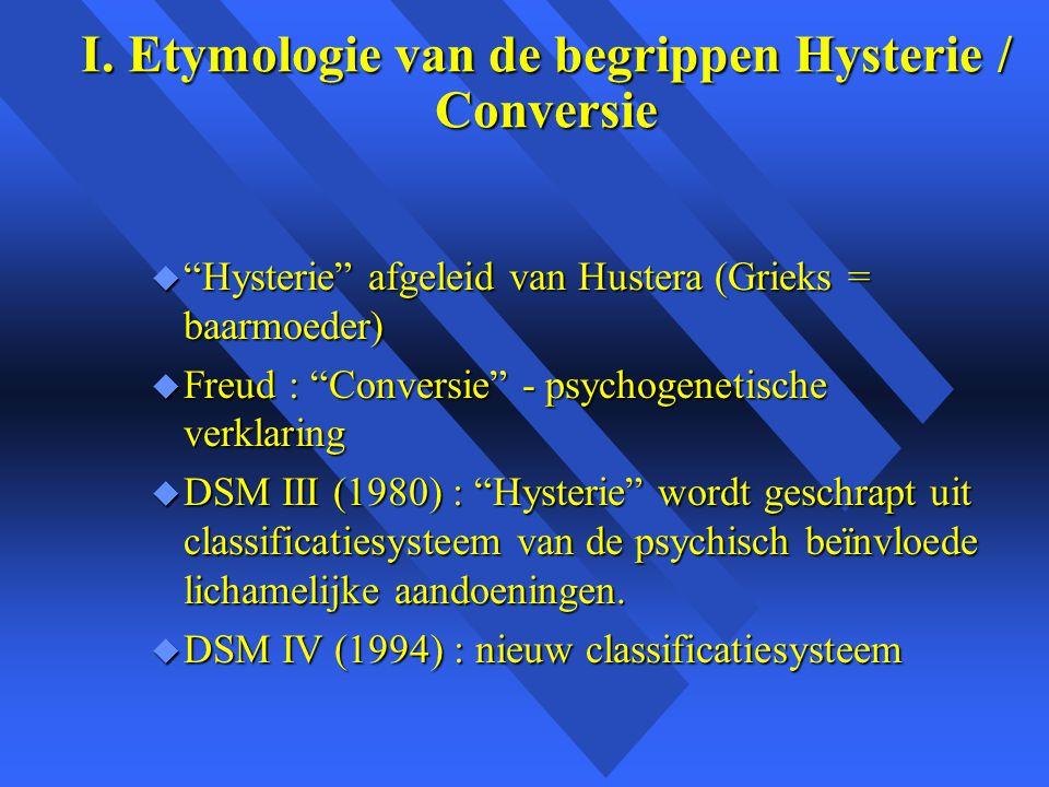 I. Etymologie van de begrippen Hysterie / Conversie