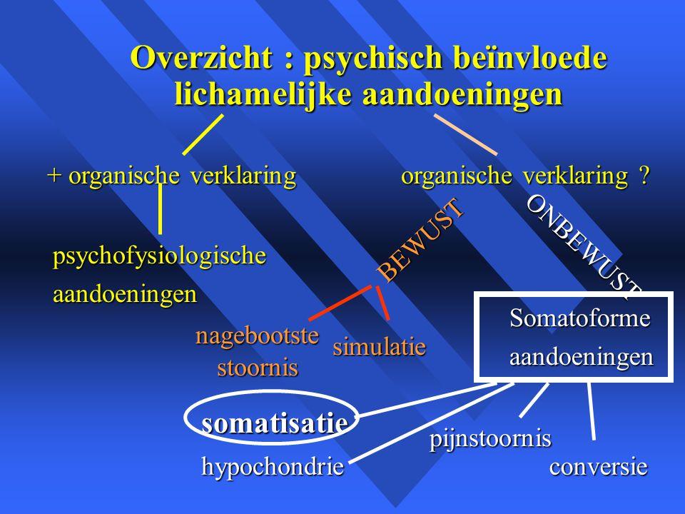 Overzicht : psychisch beïnvloede lichamelijke aandoeningen