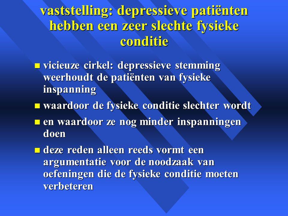 vaststelling: depressieve patiënten hebben een zeer slechte fysieke conditie