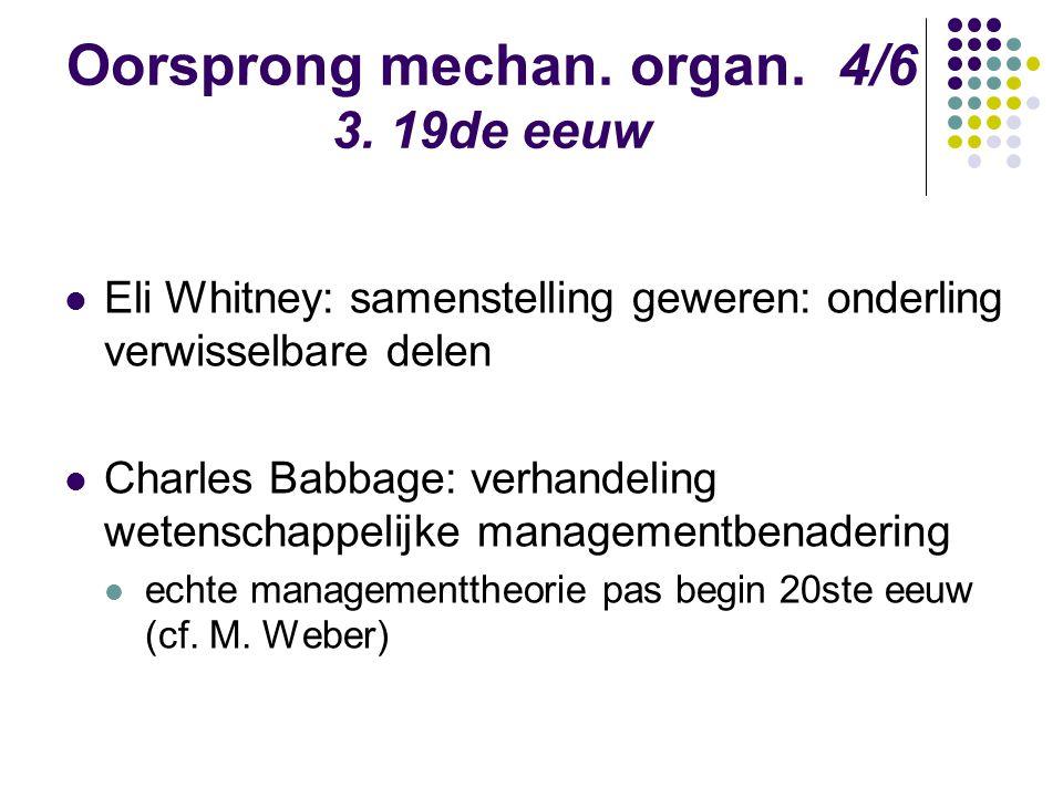 Oorsprong mechan. organ. 4/6 3. 19de eeuw