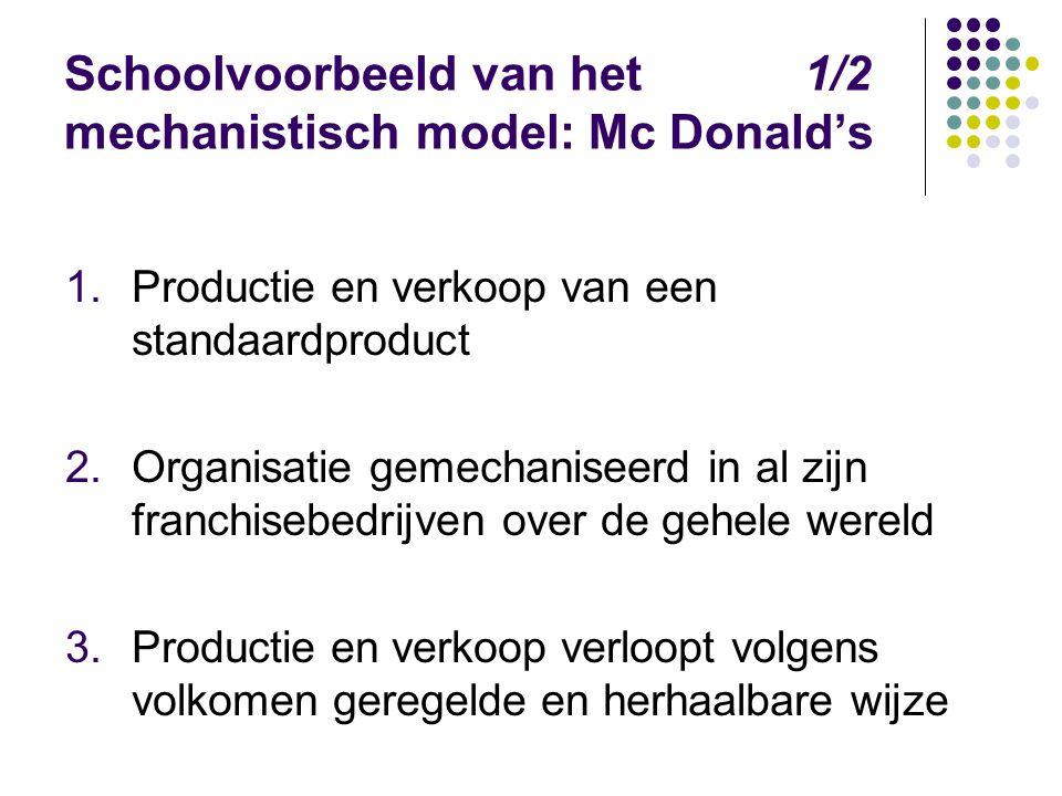 Schoolvoorbeeld van het 1/2 mechanistisch model: Mc Donald's