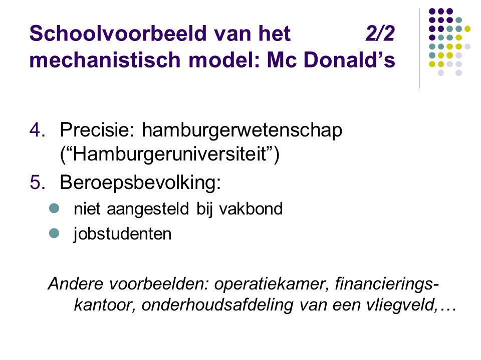 Schoolvoorbeeld van het 2/2 mechanistisch model: Mc Donald's