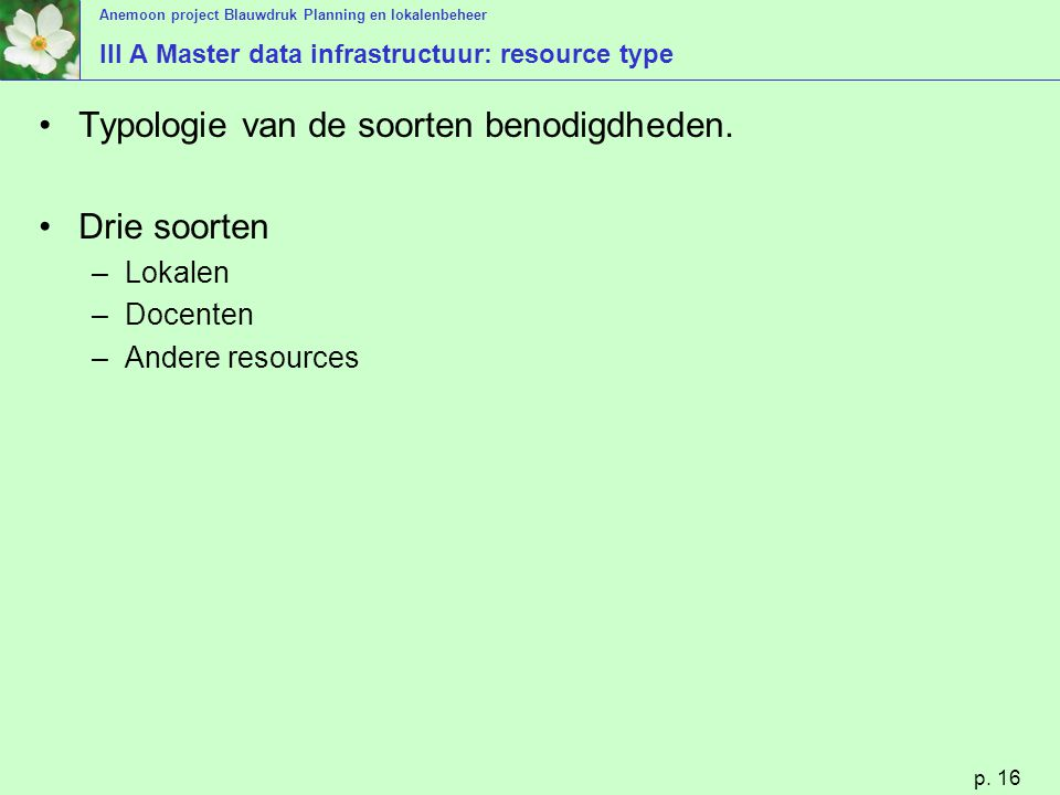 III A Master data infrastructuur: resource type