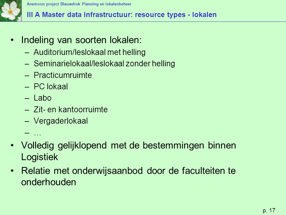 III A Master data infrastructuur: resource types - lokalen