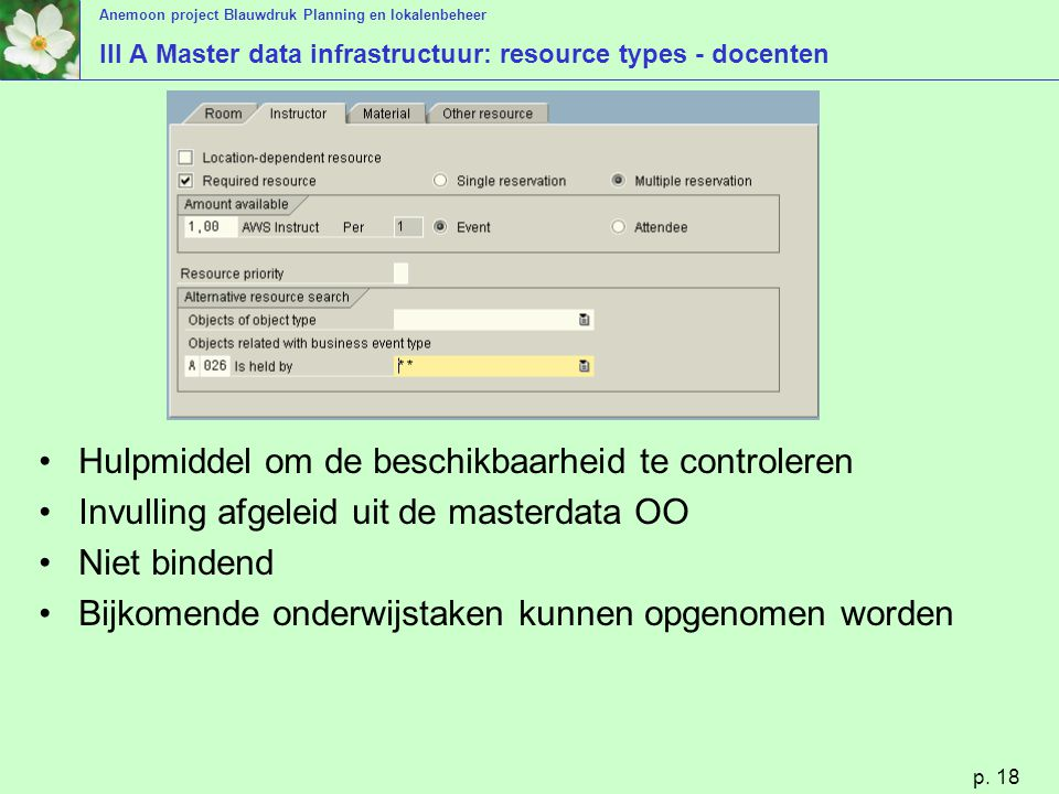 III A Master data infrastructuur: resource types - docenten